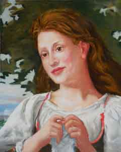 "Portrait of Judy as the young woman in Bouguereau's ""The Knitter"""