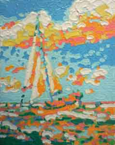 Oil pastel melted on canvas of sailboat by Tom Lohre.
