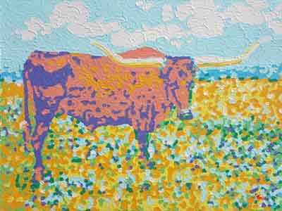 "Impressionist oil painting of Longhorn Steer posing like he is on the cover of ""Bull Buying Today"" bu Tom Lohre."