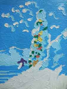 Oil pastel impressionist painting of Lake Tahoe by Tom Lohre.