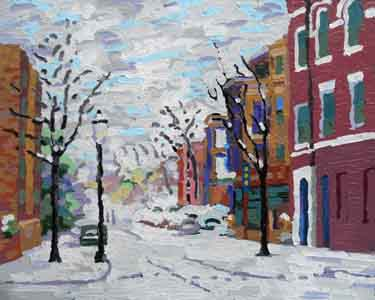 "Telford Avenue III, 20 "" x 16"", Oil pastel melted on thirty gauge metal, February 2, 2014  by Tom Lohre."