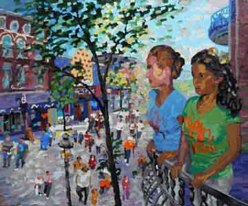 Oil pastel on metal,  of two women on a balcony in Clifton on Ludlow by Tom Lohre.
