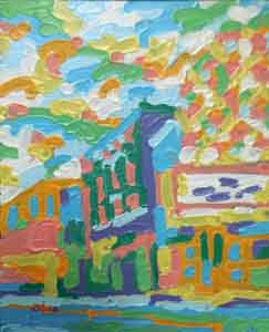 Oil painting of the Esquire Theater Cincinnati Ohio by Tom Lohre.