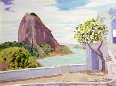 Surgar Loaf Mountain cococaban Rio from the military battery oil painting by Tom Lohre.